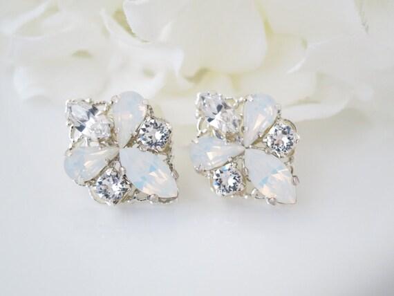 Wedding earring, Opal earring, Swarovski white opal post earring, Rhinestone bridal earring, Simple crystal earring, Bridesmaid earring