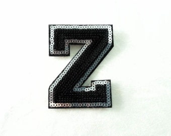 Alphabet Letter Z Iron on Patch - Black Sequin Z, Glitter Applique Embroidered Iron on Patch - Size 5.4x7.5 cm#T1