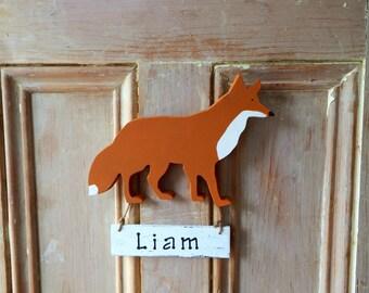 Nursery decor baby name sign - personalized baby name sign fox - fox baby door hanger - rustic nursery - woodland nursery - new baby gift