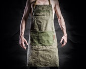 Canvas  apron with canvas pockets and army belts by Kruk Garage Work apron Barista apron Barber apron Mens apron Valentine's Day gift