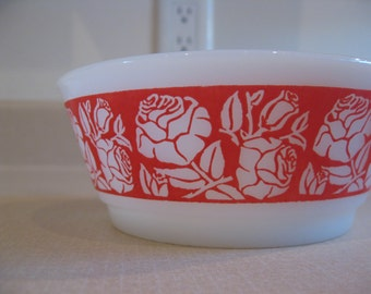 Sweet Fire King Roses Bowl