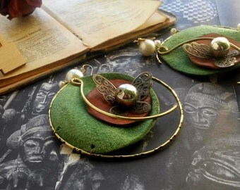 Green earrings, leather, butterfly
