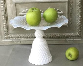 Vintage Milk Glass Dessert Stand / Hobnail Milk Glass Pedestal