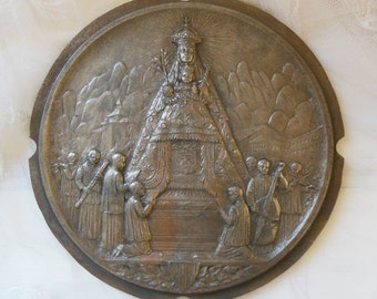 Vintage religious medallion with the Virgin Mary and the Infant Jesus . Large wall decor plaque.