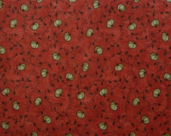 Moda Fabric ~ Happy Hollow by Sandy Gervais ~ Tan Pumpkins on Orange Background