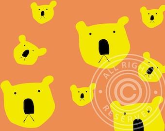Koala greeting card yellow & orange, koala pattern
