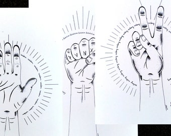"PACK of 3 illustrations ""HANDS"""