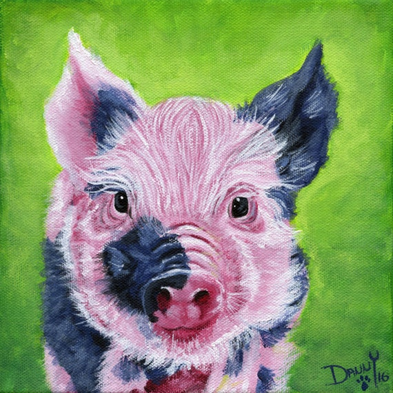 Colorful Pig painting Bright Pig Artwork Colorful by ...