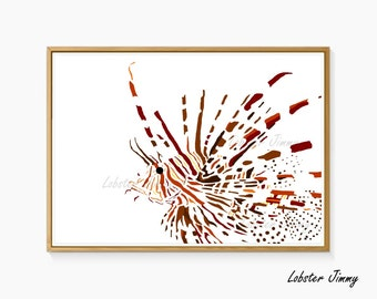 Lionfish Print, Oceanography Poster, Fishes, Lion Fish Wall Print, Instant Download, Printable Art, Ocean Wall Decoration, Colorful Fishes