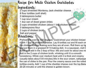 Printable White Chicken Enchiladas Recipe Card