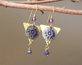 Mixed Metal Earrings,Purple Daisy Earrings,Lavender Brass Earrings,137