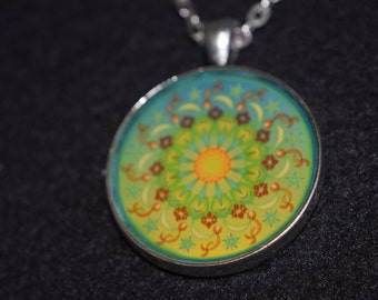 "Mandala Necklace, ""Harmony""  30mm, 24"" Chain"