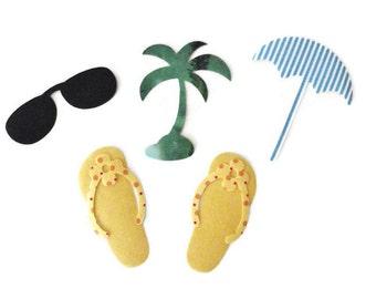 Iron On Applique, Summer Beach Applique, DIY Kit, Flip Flops, Sun Shades, Beach Umbrella, Palm Tree Applique, Kids T-Shirt Applique