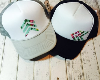 Verify size before ordering!Best selling Mint floral stacked chevron women's trucker hat, available in a variety of colored brims!