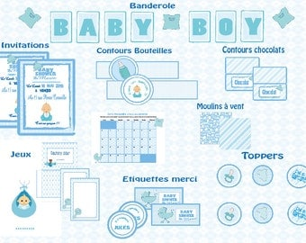 Kit Baby Shower printable - baby boy -.