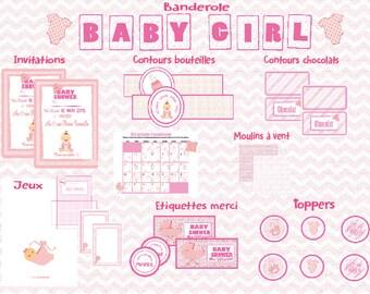 Kit Baby Shower printable - baby girl -.