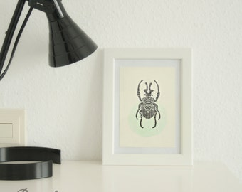 Beetle Block Print * Beetle Wall Decor * Insects * Wall Art * Beetles *  Minimalist * Nature * Dicronocephalus wallichi Hope * entomology
