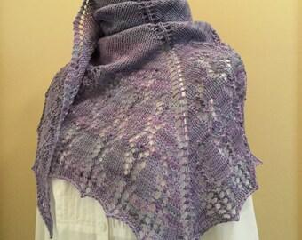Hand knit shawl, shawlette, scarf, violet, light purple, merino wool