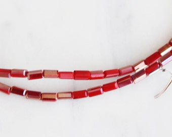 A3-036-8] Two Tone Red / 2 x 4mm / Faceted Crystal / Square Tube Bead  / 1 strand