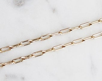 B5-133-G] Link / 3 x 8mm / Gold plated / Cable Chain / 1 meter