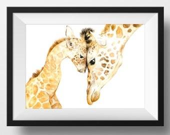 MAMA & BABY GIRAFFE Print - Original Watercolor Giraffe Nursery Print