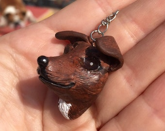 Necklace with hand-carved and painted portrait of your dog