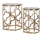 Set Of 2 Gold Round Tables