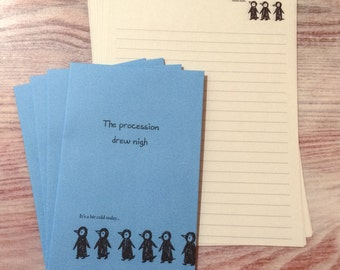 Penguin Letter Set - Cute Stationery - Blue