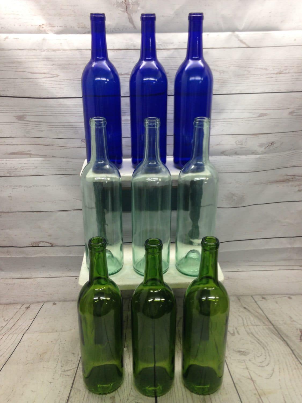 9 assorted bottles blue clear green wine bottles 750 ml for Green wine bottles