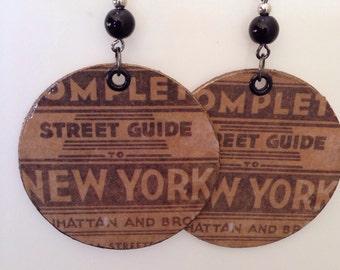 Up-cycled NYC Earrings, cereal box earrings, decoupage earrings, NY