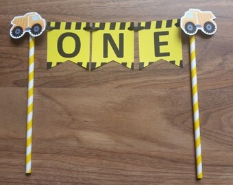 1st First Birthday Custom Made Construction 'ONE' Cake Bunting