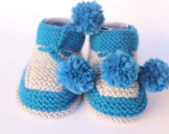 Baby Booties Newborn Baby Gift birth Knitting Wool Handmade