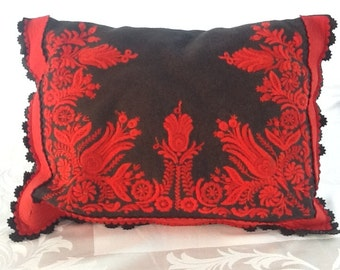 Vintage statement decorative felt appliqué and embroidered pillow