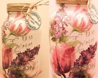 Hand made Lilac & Rose print mason jar