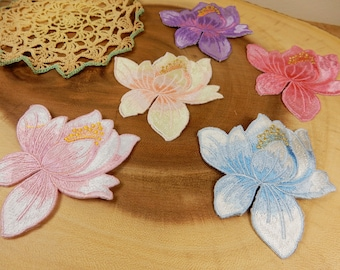 Lotus Flower Sewing Applique, Fabric Embroidered Motifs, Sew On Flowers, Floral Decor