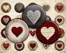 Wooden Rattan Red Hearts Digital Download - 12mm, 14mm, 16mm and 18mm circles - Digital Collage Sheet for Pendants, Earrings, Bracelets