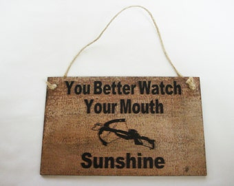 Walking Dead Wall Plaque Sign Daryl Watch Your Mouth Sunshine Laser Engraved