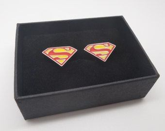 Superman cufflinks men's red and yellow Superman logo cufflinks DC Superhero cufflinks