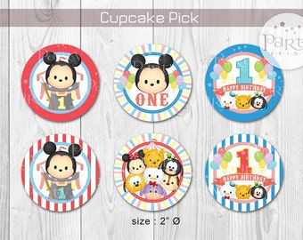 Tsum Tsum Carnival Cupcake Pick / Topper (customized) - (Digital Copy) **No physical item will be shipped