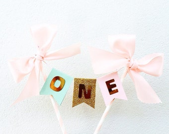 First birthday , Pink, mint and gold first birthday cake bunting. Cake smash, cake topper, cake banner, birthday decorations, one.