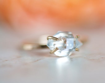 Herkimer Diamond Ring, Herkimer Crystal 14k Gold Filled Ring
