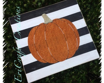 Wood Stripes and Glitter Pumpkin Sign FALL