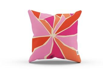 Art Series: RIP Pillowcase w/Stuffing - Pink Orange Cream pillow / Home decor / Abstract, mid century, retro, geometric