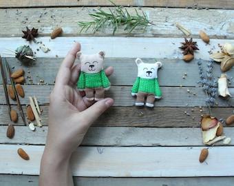 Handmade bear in green sweater magnet