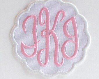 Scallop Monogram Patch with Empress Font Iron-On Applique