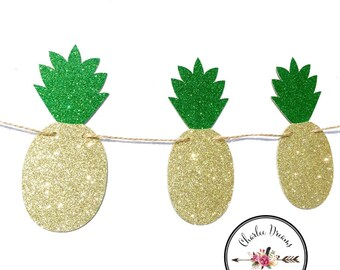Pineapple Garland //pineapple Party // Glitter Gold Pineapples // Pineapple Banner