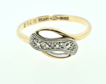 9ct yellow gold and platinum Edwardian fancy diamond wavy ring size M 5 stone