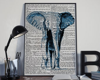 Dictionary print, Elephant art print, elephant illustration, vintage dictionary print