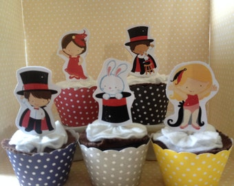 Magic Show, Magician Party Cupcake Topper Decorations - Set of 10