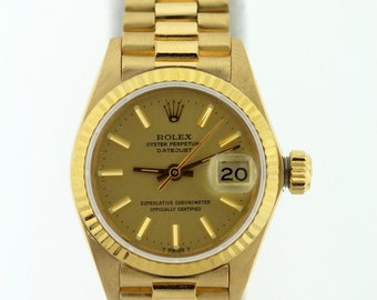 Ladies Rolex Presidential Datejust 18K Gold Watch
